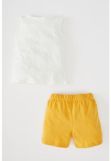 DeFacto Set de pantaloni scurti si top cu imprimeu text Baieti
