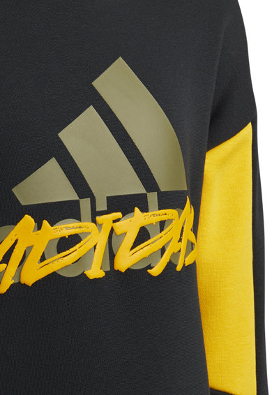 adidas Performance Bluza sport cu imprimeu logo si maneci cazute, Negru/oranj/verde sparanghel, Baieti