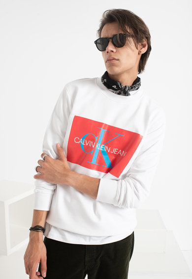 CALVIN KLEIN JEANS Bluza sport cu imprimeu logo si decolteu la baza gatului Barbati