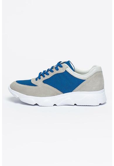 Bigiotto's Shoes Pantofi sport de piele intoarsa si plasa Barbati