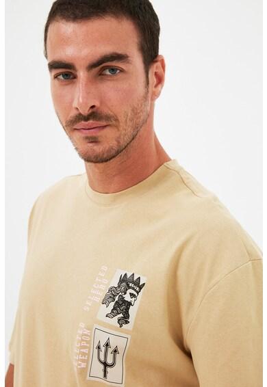 Trendyol Tricou de bumbac cu imprimeu grafic Barbati