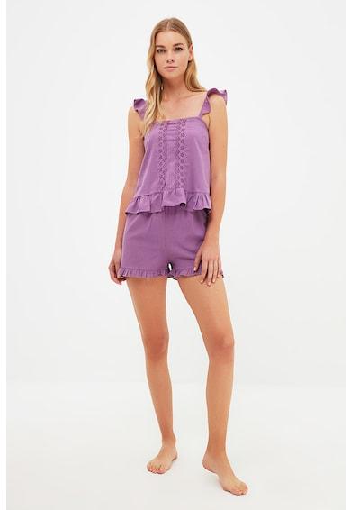 Trendyol Pijama cu pantaloni scurti si volane Femei