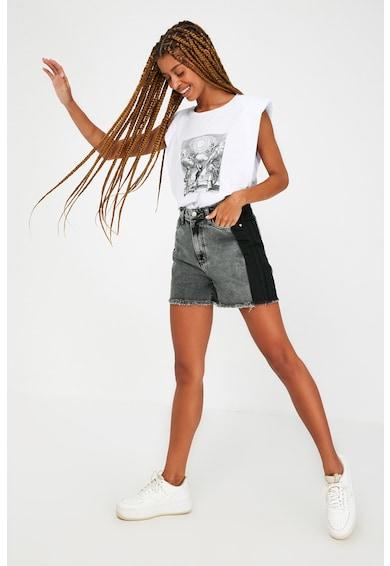 Trendyol Pantaloni scurti din denim cu talie inalta si model colorblock Femei