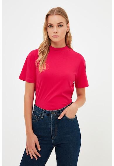 Trendyol Tricou de bumbac cu decolteu la baza gatului Femei