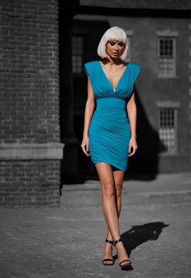 Mitiliane Couture Mitiliane Coutur, Rochie mini drapata cu umeri intariti Femei