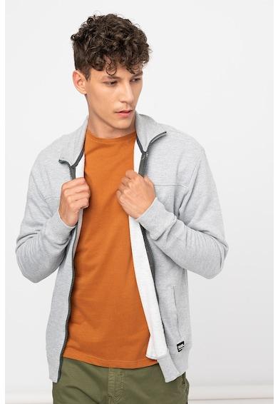 BLEND Bluza sport de bumbc cu fermoar si logo Barbati