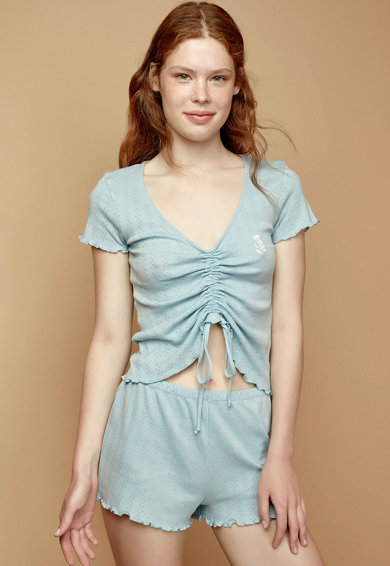 Penti Pijama cu decolteu in V si terminatii valurite Femei
