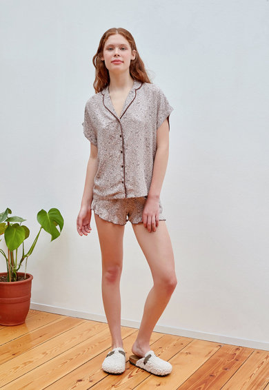 Penti Pijama cu pantaloni scurti si imprimeu floral Femei