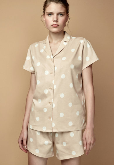 Penti Pijama cu pantaloni scurti si imprimeu cu buline Femei