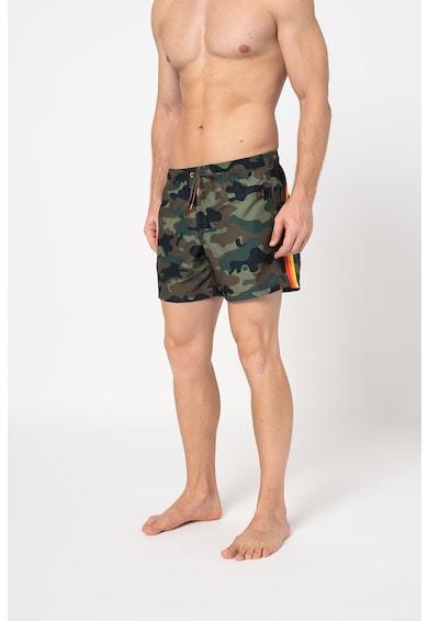 Sundek Pantaloni scurti de baie cu imprimeu camuflaj si snur in talie Barbati
