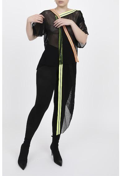 Edita Lupea Bluza transparenta de plasa cu model asimetric si benzi elastice Femei