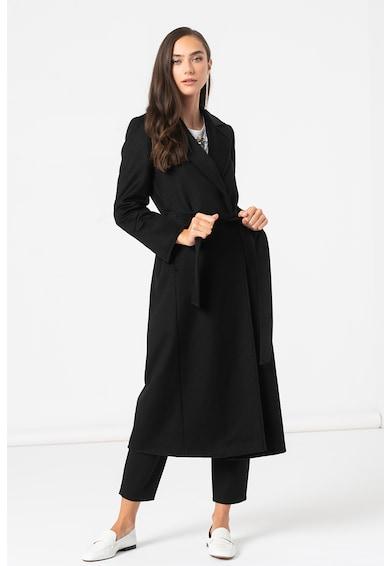 Max&Co Palton de lana cu revere decupate si cordon in talie Longrun Femei
