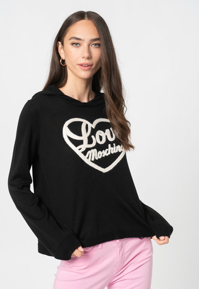 Love Moschino Pulover din amestec de lana cu imprimeu logo si gluga Femei