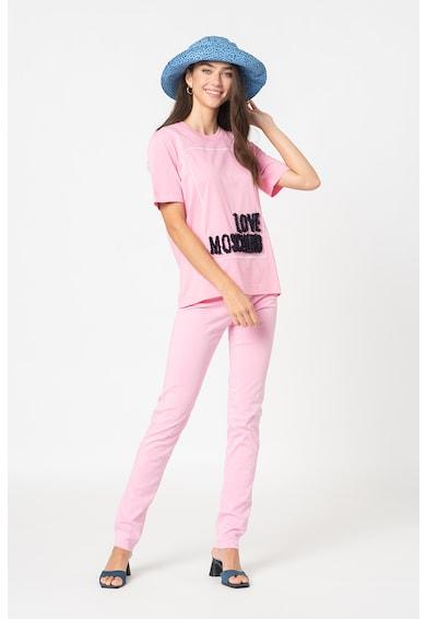 Love Moschino Tricou cu decolteu la baza gatului si aplicatie logo Femei