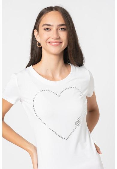Love Moschino Tricou cu decolteu la baza gatului si aplicatie cu strasuri Femei