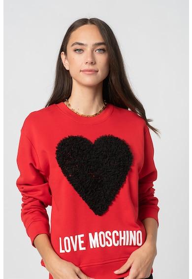 Love Moschino Bluza sport cu imprimeu logo si maneci cazute Femei