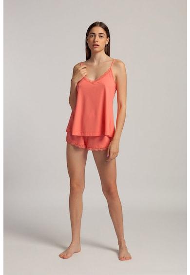 Sofiaman Pijama scurta din amestec de modal cu garnituri din dantela Danielle Femei