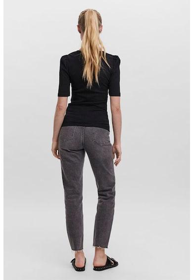 Vero Moda Tricou din amestec de bumbac organic cu aspect striat si decolteu in V Femei