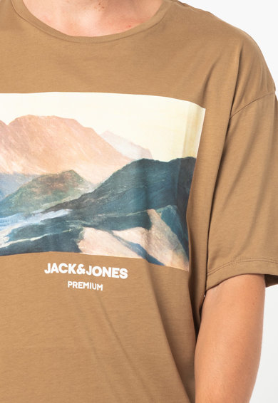 Jack&Jones Tricou cu decolteu la baza gatului si imprimeu grafic Blacallie Barbati