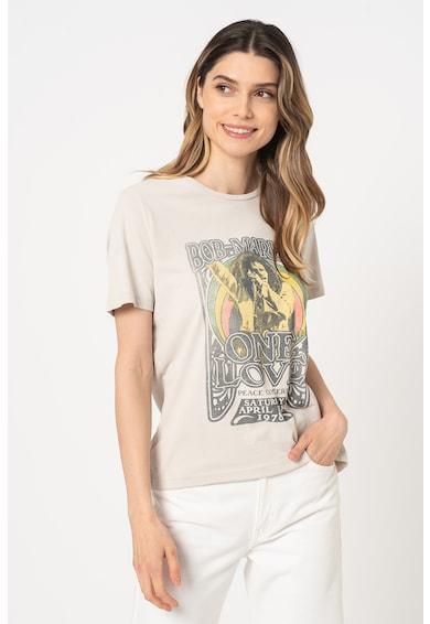 Only Tricou cu decolteu la baza gatului si imprimeu Bob Marley Femei
