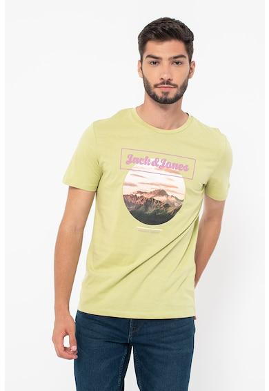 Jack&Jones Tricou cu decolteu la baza gatului si imprimeu logo Booster Barbati