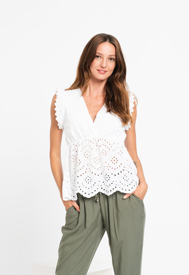 Haily's Bluza cu decolteu in V si model brodat Milla Femei