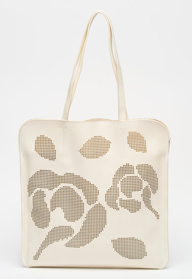 Luisa Vannini Geanta shopper de piele ecologica cu detalii perforate Femei