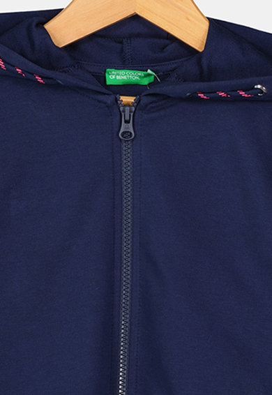 United Colors of Benetton Hanorac cu fermoar si imprimeu logo Fete