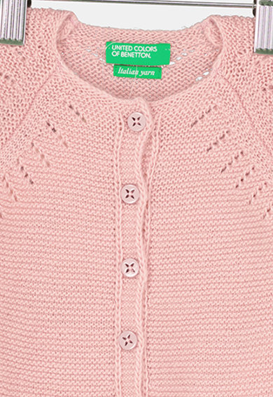 United Colors of Benetton Cardigan din amestec de lana cu detalii pointelle Fete