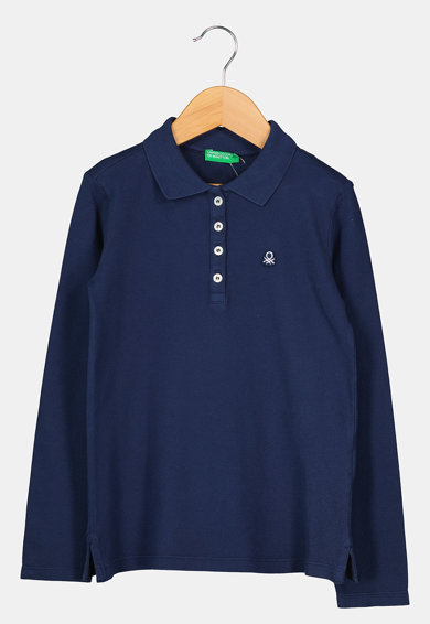United Colors of Benetton Bluza polo cu broderie logo Fete