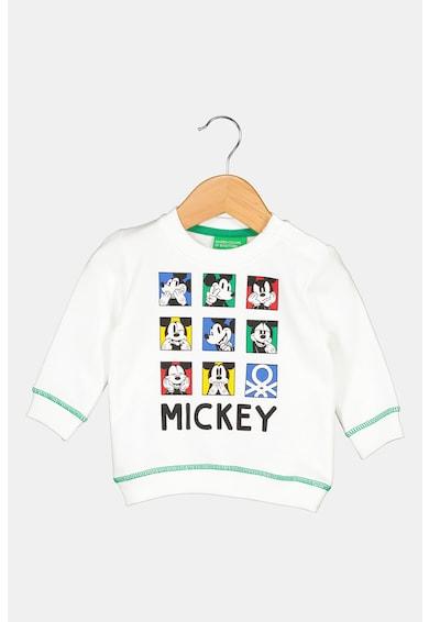 United Colors of Benetton Bluza sport cu decolteu la baza gatului si imprimeu Mickey Mouse Baieti