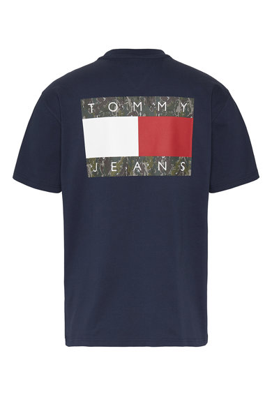 Tommy Jeans Tricou de bumbac organic cu decolteu la baza gatului si imprimeu logo Barbati