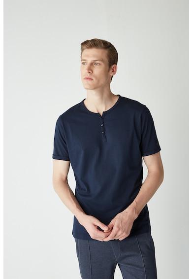 NUMBERBLUE Tricou din bumbac organic cu fenta cu nasturi Barbati