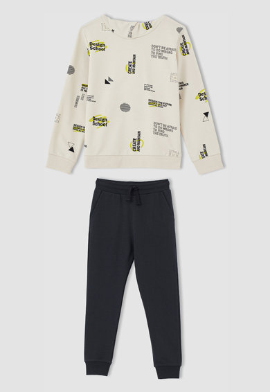 DeFacto Set de hanorac cu imprimeu si pantaloni sport - 2 piese Baieti