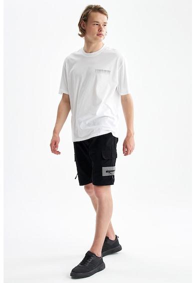 DeFacto Tricou cu decolteu la baza gatului si imprimeu text pe partea din spate Barbati