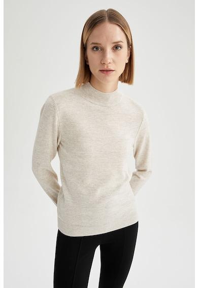 DeFacto Pulover tricotat fin cu guler striat Femei