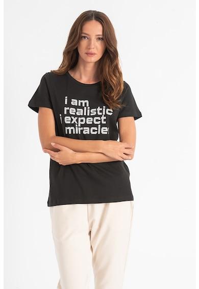 ICHI Tricou de bumbac organic cu imprimeu text Camino Femei