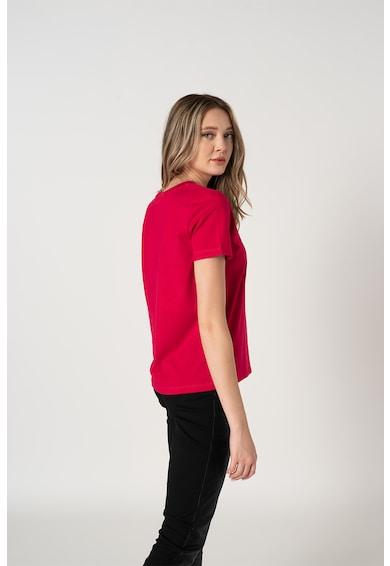 CALVIN KLEIN Tricou de bumbac organic cu decolteu la baza gatului Femei