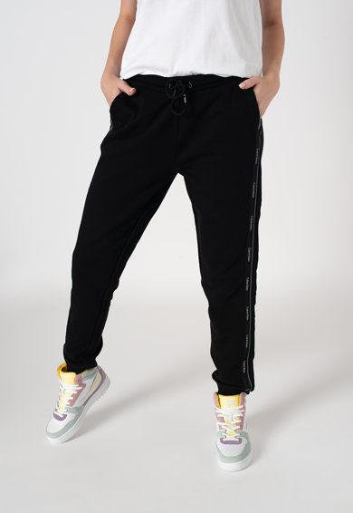 CALVIN KLEIN Pantaloni sport din bumbac organic cu benzi laterale cu logo Femei