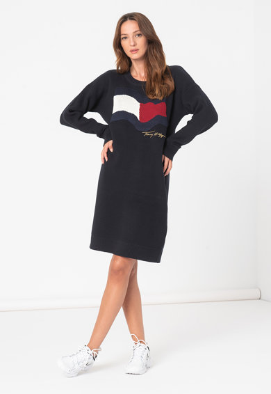 Tommy Hilfiger Rochie-pulover de bumbac organic Motion Flag Femei