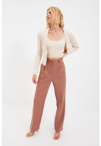 Trendyol Set de cardigan si top crop cu aspect striat Femei