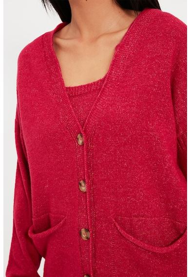 Trendyol Set de cardigan si top crop tricotate fin Femei