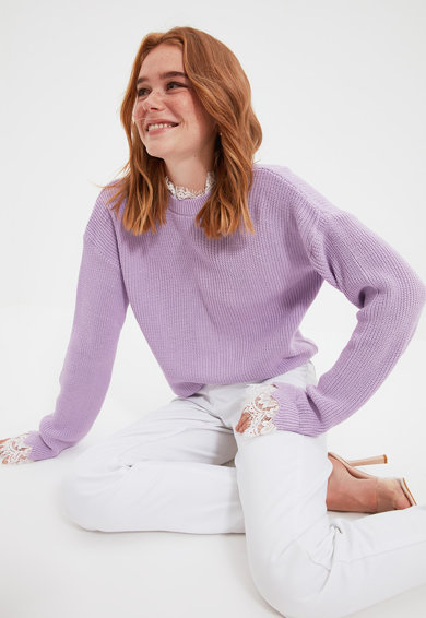 Trendyol Pulover lejer cu garnituri de dantela Femei