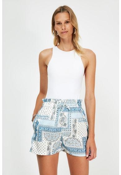Trendyol Pantaloni scurti cu talie inalta si imprimeu Paisley Femei