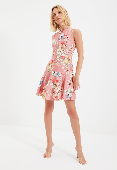 Trendyol Rochie mini evazata cu imprimeu floral Femei