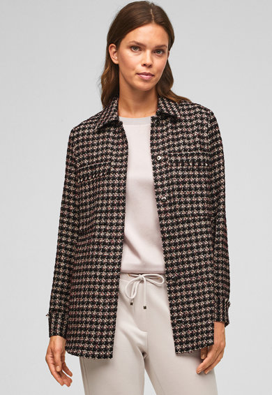 s.Oliver Sacou din material boucle cu model houndstooth Femei