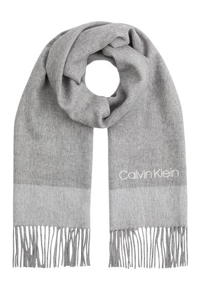 CALVIN KLEIN Fular de lana cu logo brodat Femei