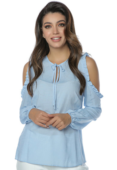 Miss One Bluza cu decupaje pe umeri si aspect semitransparent Femei