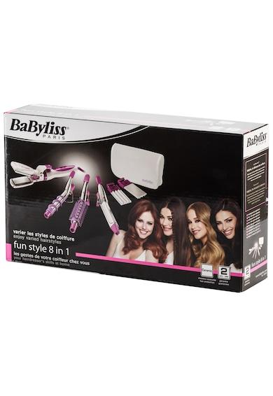 BaByliss Ondulator  StyleMix , 145°C, 8 accesorii, placi creponare, Alb/Roz Femei