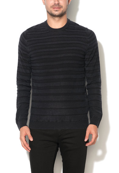 United Colors of Benetton Pulover slim fit negru cu model in dungi Barbati